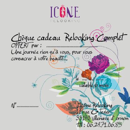 Image chèque cadeau pour Icône Relooking, l'agence de conseil en image.